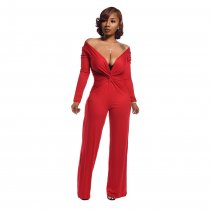 WGW Sexy Deep V Neck Long Sleeve Solid Jumpsuits YD8164