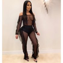 WGW Sexy Off Shoulder Ruffles Mesh See Through Jumpsuit PIN8478