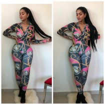 WGW Chain Print V Neck Long Sleeve One Piece Jumpsuits CY2108