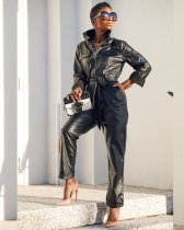 WGW Faux Leather Zipper Full Sleeve Jumpsuits With Belt CQ5307