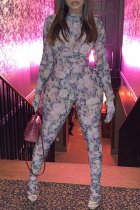 WGW Plus Size Floral Print Long Sleeve Bodycon Jumpsuits SC737