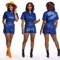 WGW PU Leather Short Sleeve Zipper Rompers With Belt BS1157