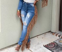 WGW Denim Tassel Ripped Hole Skinny Long Jeans Pants DM8113