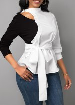 WGW Casual Patchwork Full Sleeve Sashes Blouse Tops BS1163