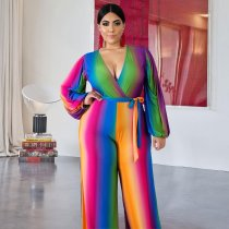 WGW Plus Size Colorful Stripe V Neck Sashes Jumpsuits ME5081