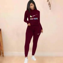 WGW Casual Tracksuit Hooded Two Piece Pants Set FST7076