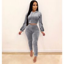 WGW Casual Velvet Hoodies Long Pants Two Piece Sets SHE7166