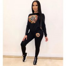 WGW Casual Sequin Embroidery Sweatshirt 2 Piece Pants Set CY1997