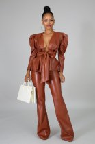WGW Sexy PU Leather Long Sleeve Two Piece Pants Set CY1996