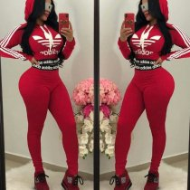 WGW Letter Print Hooded Casual Sporty Two Piece Sets YIM8067-1