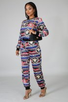 WGW Fashion Printed Long Sleeve Two Piece Pants Set CY1203