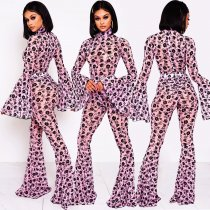 WGW Floral Print Flare Sleeve Bodysuit And Pants 2 Piece Set BY3341