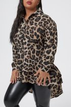 WGW Plus Size 5XL Leopard Irregular Blouse Tops OMY8012
