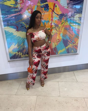 WGW Floral Print Straps Crop Top And Long Pants Suit MEI9013