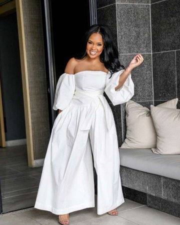 WGW Plus Size White Slash Neck Wide Leg Jumpsuits OD8297