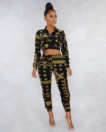 WGW Sexy Printed Long Sleeve Vintage Two Piece Pants Suit MEI9030