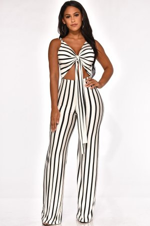 WGW Sexy Striepd Sleeveless Tie Up Cut Out Backless Jumspuit SHA6082