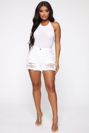 WGW White Ripped Hole Jeans Casual Straight Shorts MA224