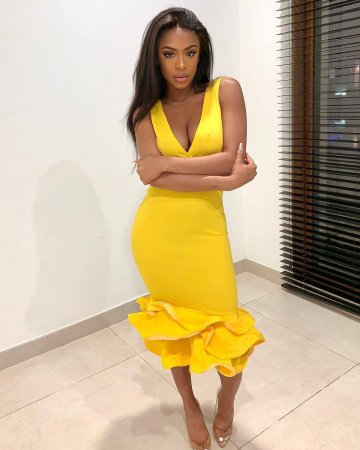 WGW Yellow Ruffles V Neck Sleeveless Bodycon Midi Dresses BGN009