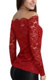 DJT Womens Boat Neck Floral Lace Raglan Long Sleeve Shirt Top