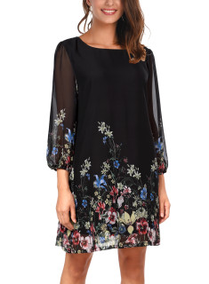 DJT Women's Floral Pattern 3/4 Sleeve Loose Fit Chiffon Tunic Dress