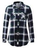 DJT Women's Roll Up Long Sleeve Collared Button Down Plaid Shirt