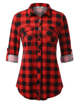 DJT Women's Roll Up Long Sleeve Collared Button Down Plaid Shirt