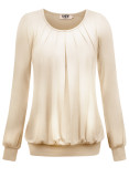 DJT Women's Scoop Neck Long Sleeve Pleated Front Blouse Tunic Top