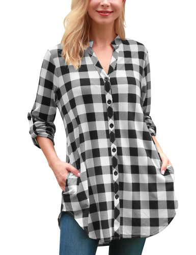 DJT Women's Soft V Neck Roll Up 3/4 Sleeve Pockets Casual Button Down Plaid Shirts