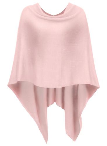 DJT Womens Solid Knit Scarfs Short Asymmetric Wrap Poncho Topper