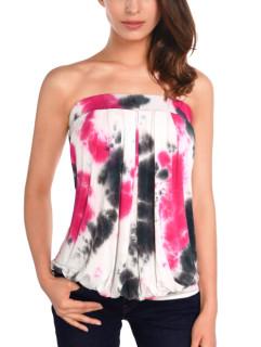 DJT Women's Tie Dye Sleeveless Stretchy Pleated Tube Top