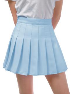 DJT FASHION Women's Girls Short High Waist Pleated Skater School Uniform Skirt Light Blue