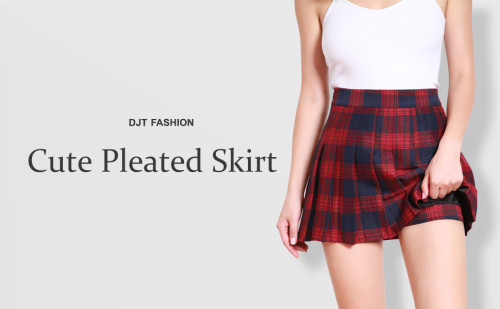 DJT FASHION Women's Girls Short High Waist Pleated Skater School Uniform Skirt Black