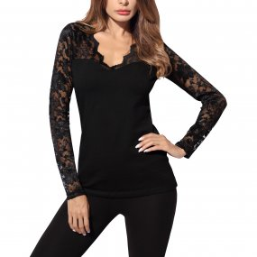 Women's V-Neck Floral Lace Overlay Lined Long Sleeve Top
