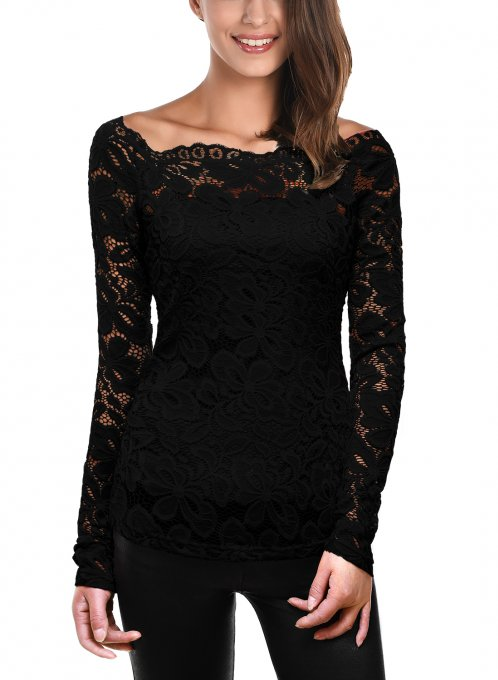 DJT Womens Boat Neck Floral Lace Raglan Long Sleeve Shirt Top