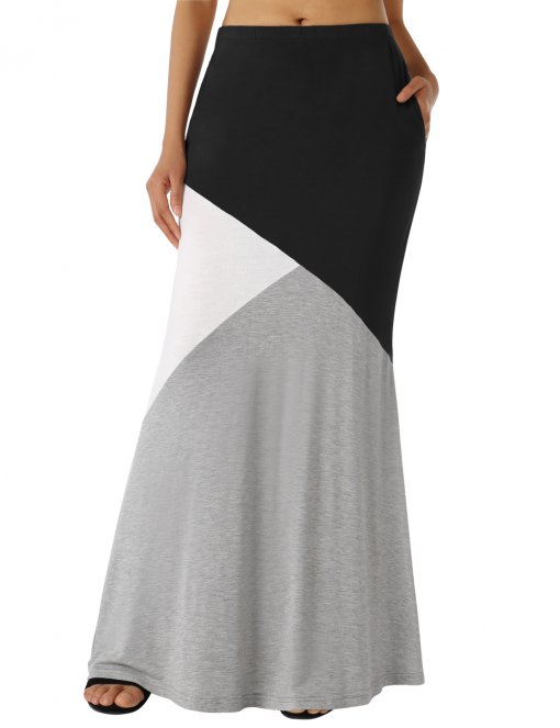 DJT Women's Color Block High Waist Comfy Long Maxi Skirt with Pockets