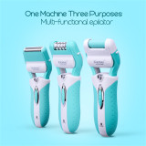 CkeyiN 3 in 1 Rechargeable Lady Epilator Shaver Callus Remover Electric Hair Removal Pedicure Foot Care Beauty Tools Kit