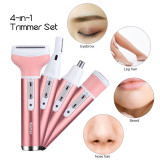 CkeyiN 4 in 1 Rechargeable Lady Shaver Eyebrow Trimmer Nose Trimmer Beard Trimmer Electric Hair Removal Beauty Tools Kit