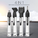 CkeyiN 4 in 1 Trimmer Set Rechargeable Nose Ear Hair Trimmer Sideburns Trimmer Eyebrow Trimmer Beard Shaver