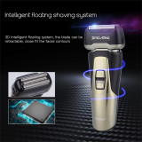 CkeyiN Rechargeable 3D Floating Reciprocating Three-blade Shaver Washable Electric Shaver Razor for Men
