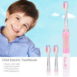 CkeyiN Child's Electronic Toothbrush Waterproof Kid Toothbrush Soft Vibration Timing Function Infant Toothbrush with Led Light