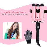 CkeyiN 3 Barrels Wave Curler Ceramic Curling Iron Wand LCD Display Hair Curler Hair Styling Tool 32mm