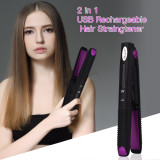 CkeyiN Mini 2 in 1 Hair Straightener and Hair Curler Rechargeable Hair Styling Tool