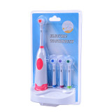 CkeyiN Battery Operated Waterproof DuPont Bristles Rotary Electric Toothbrush with Four Replaceable Brush Heads