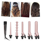 CkeyiN 5 in 1 Hair Curler Curling Iron Wand Set with Interchangeable Barrels and Heat Resistant Glove