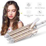 CkeyiN Curling Wand with Triple Barrel Waver, Tourmaline Ceramic Hair Curler for Large Wave Perm Splint Curling Iron, with a Heat Resistant Mitt included