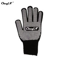 CkeyiN Heat Resistant Finger Glove Mitt for Hair Straightener Perm Curling Hairdressing Anti-scald Cotton Yarn Glove Black