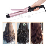 CkeyiN 32mm Hair Curler Temperature Adjustable Ceramic Curling Iron Wand Hair Styling Tool with LCD Display