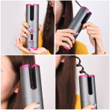 Cordless Auto Rotating Ceramic Hair Curler USB Rechargeable Curling Iron LED Display Temperature Adjustable Curling Wave Styer