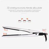 CkeyiN Professional Hair Straightener PTC Hair Styling Tool with Wider Heating Plate and LCD Screen, White